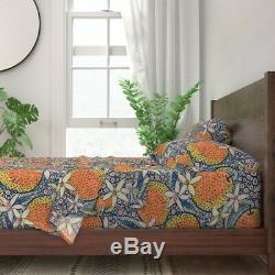 Tropical Fruit Folk Art Citrus Ethnic 100% Cotton Sateen Sheet Set by Roostery