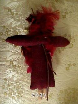 VINTAGE ethnic cloth feathers INDIAN Doll PAPOOSE baby gold star Lenci style 10