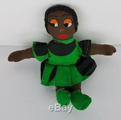 Vintage 11 Handmade Black African American Afro Ethnic Doll w Handmade Outfit