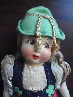Vintage 1930s Jointed Cloth Blonde Ethnic Girl Doll 9 3/4 Tall