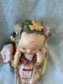 Vintage Antique Polish Jointed Ethnic Cloth 14 DOLL Plastic/Celluloid Face VGC