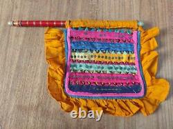 Vintage Cloth Work Hand Fan Wooden Lacquer Painted Handel Ethnic Home Decor
