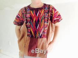 Vintage Cotton Embroidered Chichicastenango Guatemalan Huipil. Plumed Serpent