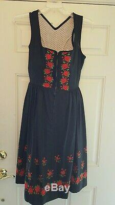 Vintage German Dirndl- Authentic Black with Red Embroidered Roses- Octoberfest