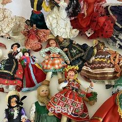 Vintage Lot of 39 Dolls World International Ethnic Cloth Plastic Collection