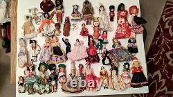 Vintage Lot of 40 International Dolls Foreign Ethnic Souvenir Collection