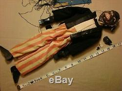 Vintage MARIONETTE AFRICAN AMERICAN ETHNIC MAN Ceramic Wood Cloth Hand-Made RARE