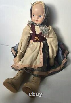 Vintage Polish Jointed Ethnic Cloth 14 DOLL Plastic Celluloid Face VGC 13.5
