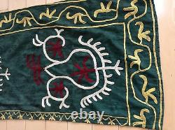 Vintage Suzani Silk Embroidery Ethnic Wall Tribal Hanging Door Decore As Is