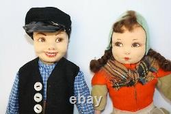 Vintage ethnic boy and girl cloth doll pair from Great Britain