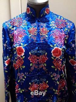 Vtg CHINESE Robe Coat Embroidered Flowers Blue Silk PLUM BLOSSOM Size 36 NICE