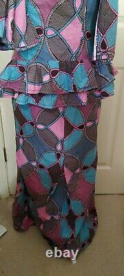 Women Clothing African Print purple black blue skirt suit with wrap