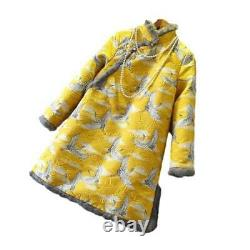 Womens Fur Trim Thick Quilted Embroidery Cheongsam Dress Chinese Clothes Party L