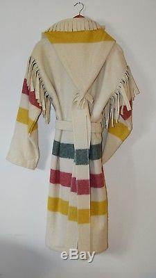 Woolrich Capote Hooded Wool Fringe Belted Trappers Period Clothing Coat Unisex S
