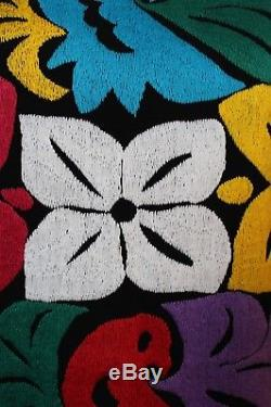 XL Multi-Color Hand Embroidered Huipil Dress Jalapa Oaxaca Mexico Hippie Peasant